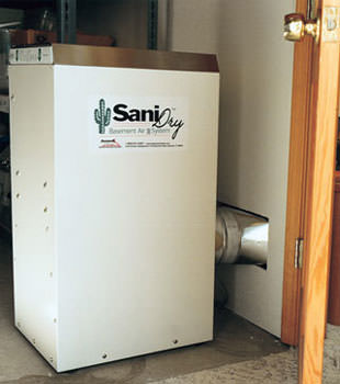 A Energy Efficient basement dehumidifier installed in a finished basement in Roy